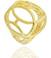 anel abaulado oval curvas semi joia