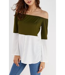 army green & white off shoulder long sleeves t-shirt