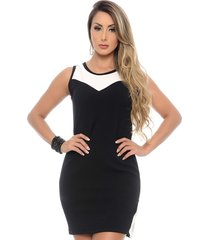 vestido social curto b bonnie com fenda lateral megan preto