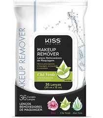 lenço demaquilante kiss new york makeup remover tissue green tea 36 unidades