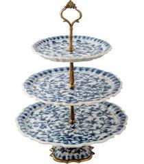 centro de mesa de porcelana e bronze - blue white