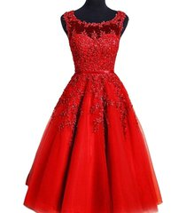 kivary sheer tulle bateau tea length short lace pearls prom homecoming dresses r