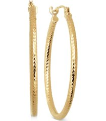 thin textured round hoop earrings in 10k gold, 4/5 inch