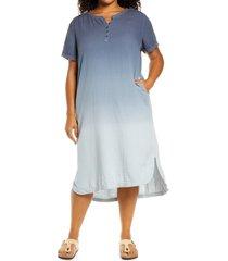plus size women's caslon ombre henley cotton midi dress, size 1x - blue