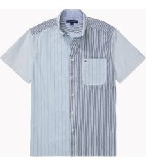 tommy hilfiger men's adaptive custom fit pieced short sleeve shirt dynamic blue - xxl