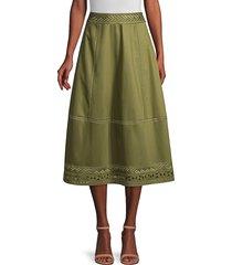 elie tahari women's daisy embroidered poplin midi skirt - tuscan olive - size 10