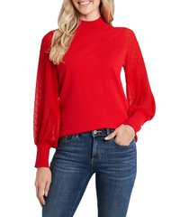 cece clip dot sleeve sweater, size x-large in luminous red at nordstrom