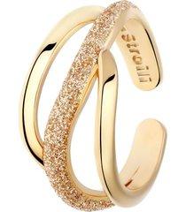 anello regolabile in ottone rosato con onda glitter per donna