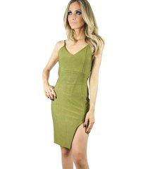 vestido liage curto liso bandagem verde militar