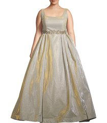 mac duggal women's plus beaded-belt metallic ballgown - gold - size 14w