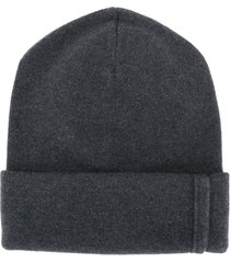 brunello cucinelli ribbed knitted beanie - grey