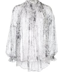 adam lippes pintuck bow blouse - white