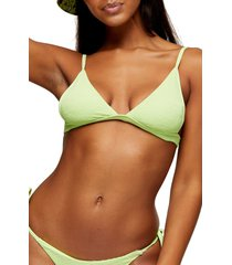 women's topshop high apex crinkle triangle bikini top, size 12 us - green
