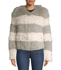 striped fox fur coat