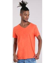 camiseta flamê básica laranja