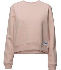 monogram badge relax sweat-shirt trui roze calvin klein jeans