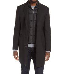 men's bugatti stretch overcoat, size 42 - black