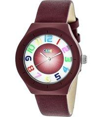 crayo unisex atomic maroon genuine leather strap watch 36mm