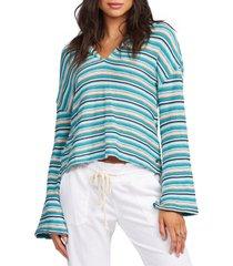 women's roxy bonfire stripe hoodie, size medium - blue/green