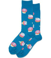 hot sox men's donut cat crew socks