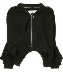 aganovich layered zip-up jacket - black