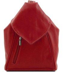 tuscany leather tl140962 delhi - zaino in pelle morbida rosso