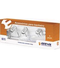 kit de acessórios para banheiro em alumínio com 5 peças cromado