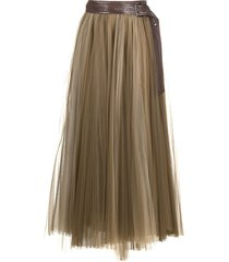 brunello cucinelli pleated tulle-overlay skirt - brown