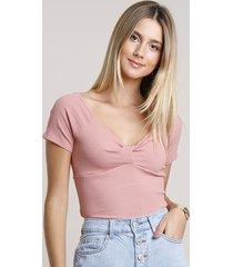 blusa feminina cropped canelada com transpasse manga curta rosê
