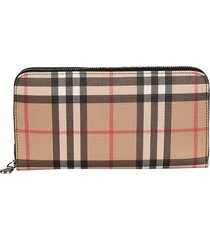 burberry elmore check zip around wallet