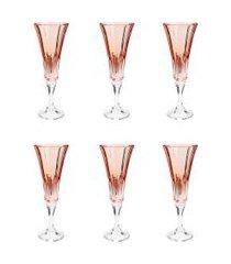conjunto rojemac 6 taças de cristal ecológico para champagne wellington rose quartz laranja