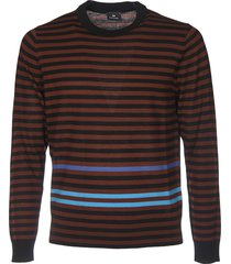 striped pullover in black and burgundy