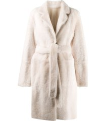 yves salomon army reversible belted coat - neutrals