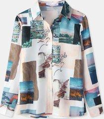 camicetta casual a maniche lunghe con bottoni con stampa a quadri retrò per donna