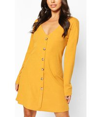 button front smock dress, mustard