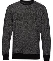 b.intl bal crew sweat stickad tröja m. rund krage grå barbour