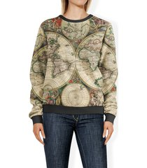 1689 antique world globe map sweatshirt