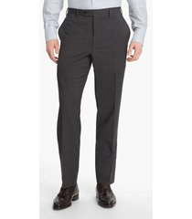 men's canali flat front classic fit wool dress pants, size 50r eu - grey