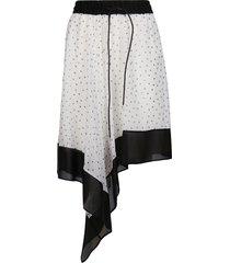 sacai white and black asymmetric skirt