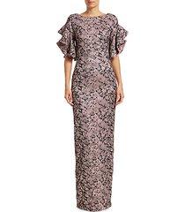 brocade ruffle short sleeve gown