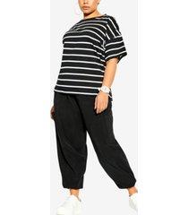 city chic trendy plus size cotton essential striped t-shirt