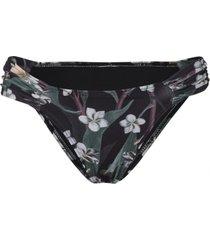 calcinha amaro franzido lateral estampa frange flower preto - preto - feminino - dafiti