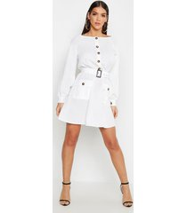 button front belted skater dress, ivory