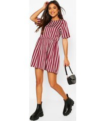 stripe crew neck smock dress, burgundy