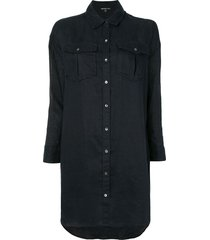 james perse oversized military shirt - blue