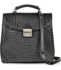 forzieri designer briefcases, black woven leather vertical messenger