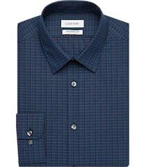 calvin klein infinite non-iron blue and red check regular fit dress shirt
