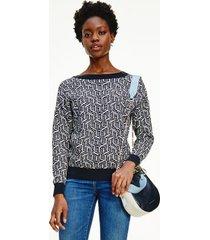 tommy hilfiger women's cube monogram sweater serif monogram / desert sky - xxl