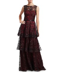 theia women's embroidered tiered ruffle gown - garnet - size 12