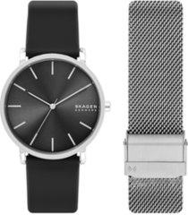 skagen men's hagen three-hand black silicone watch set 40mm